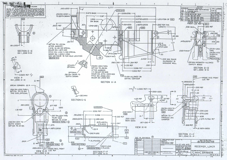medium resolution of original army ordinance department blueprints for the ar 15 lower reciever