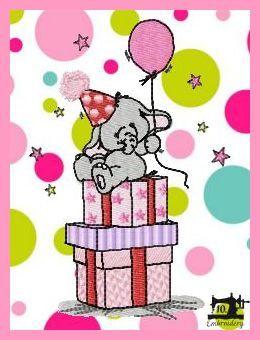 10embroidery Patroon Verjaardag Olifant Op Cadeautjes 40k