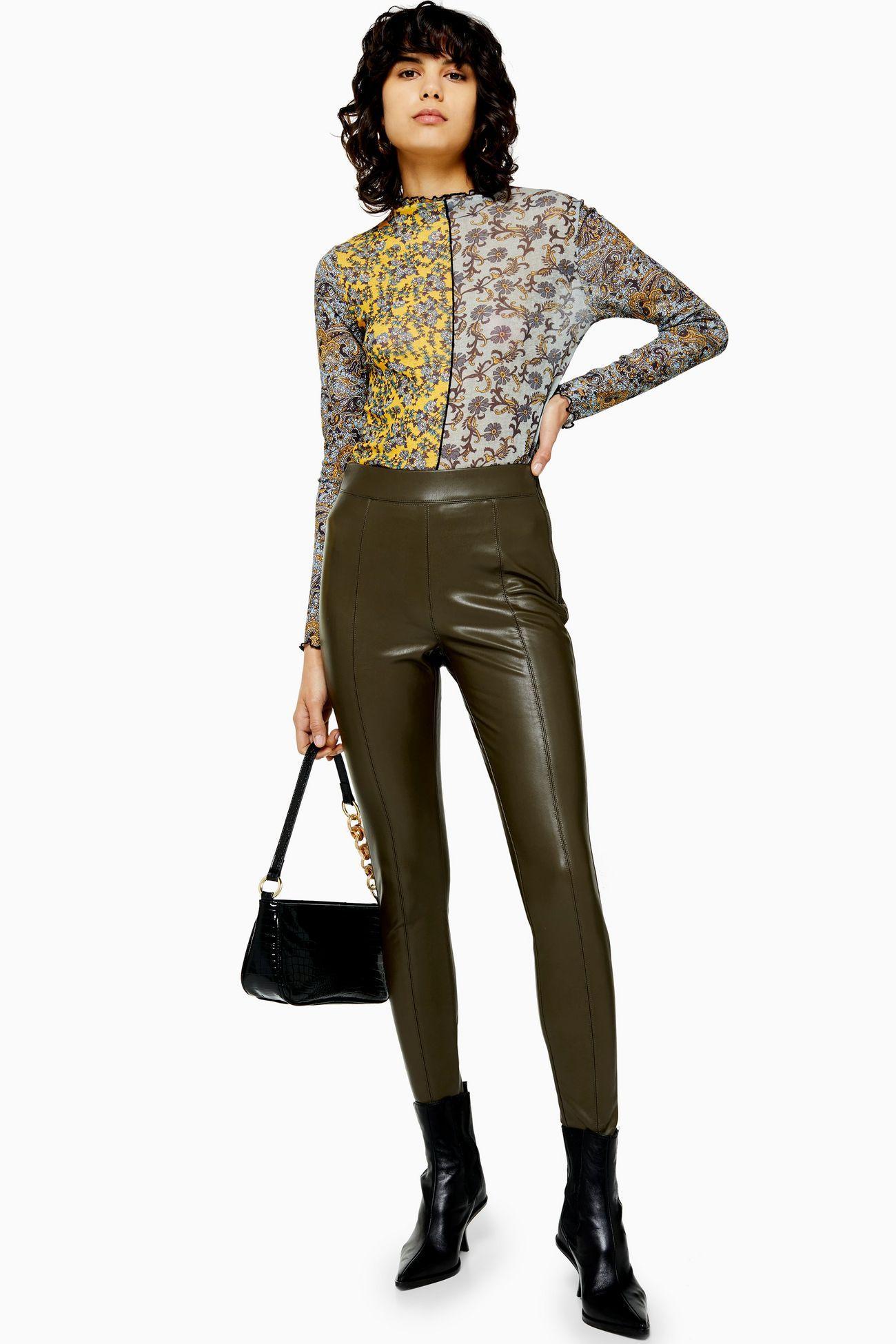 Khaki Faux Leather Skinny Trousers Leather skinny