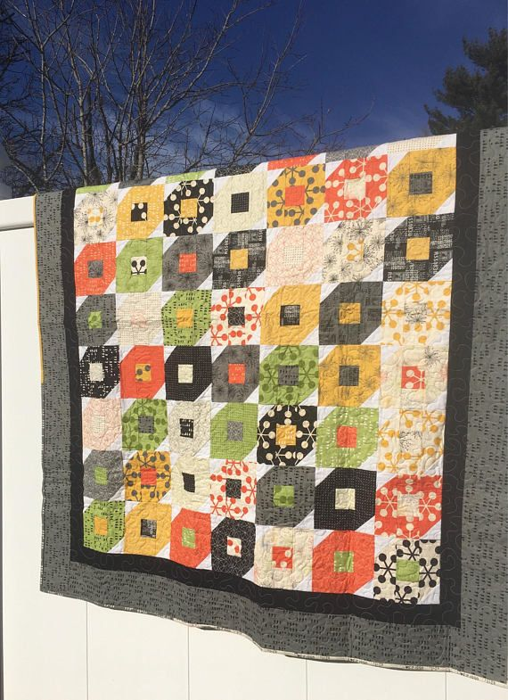 Modern Lap Quilt Sofa Quilt Quilted throw fun contemporary ...