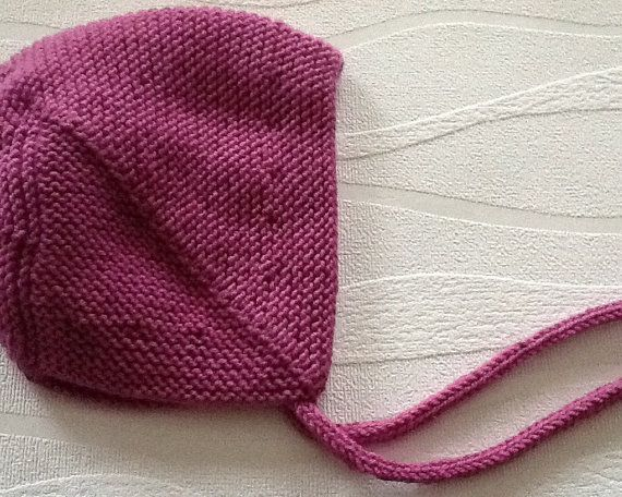 Hand knitted baby bonnet. Vintage style baby hat by emilyandevelyn