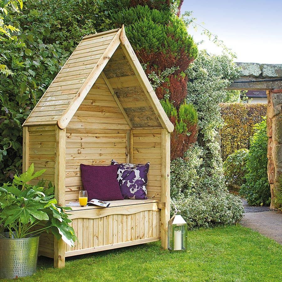 Grange Livorno Garden Arbour with Storage - Natural Wood   Natural