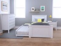White Single Trundle Bedroom Suites 4PCE for Toddlers ...