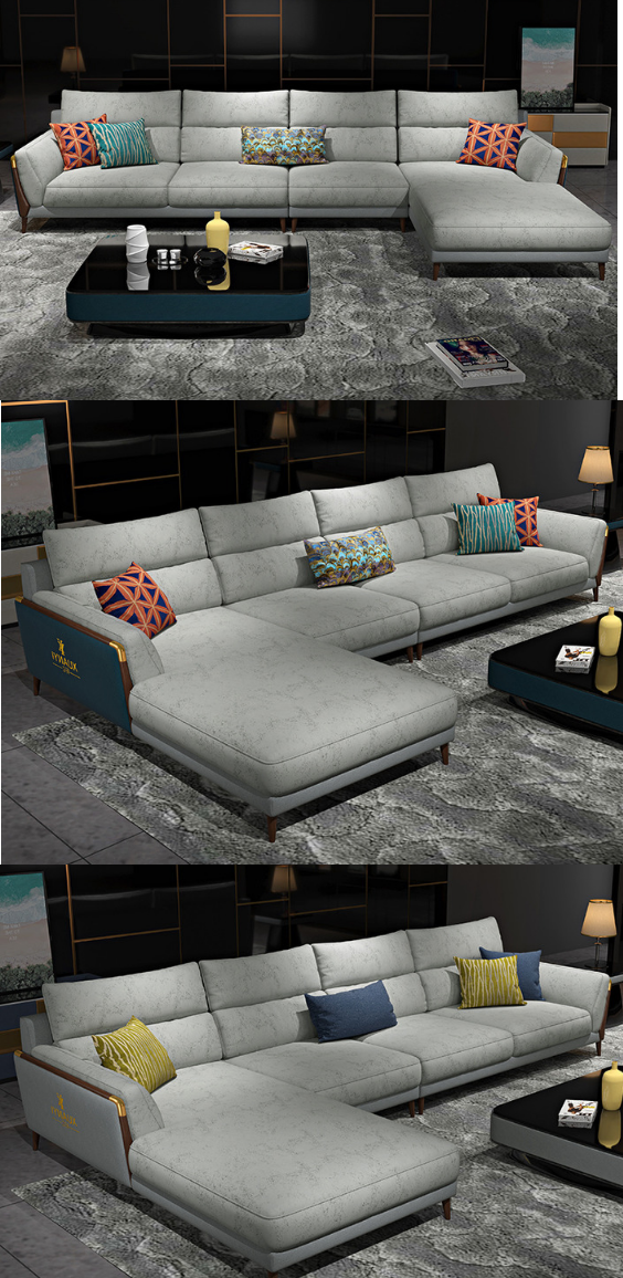 Luxury Big Grey L Shape Fabric Sofa For Apartment Living Room Furniture Design Living Room Living Room Sofa Design Sofa Set Designs