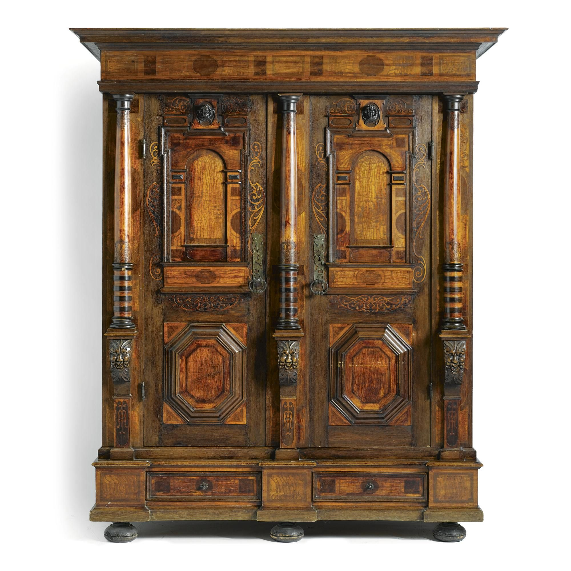 A South German Carved Oak Elm And Fruitwood Parquetry Cupboard Br P In Renaissance Style 19th Century P Lot Antike Mobel Barock Mobel Alte Mobel