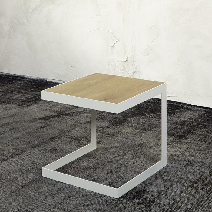 Spinder Design Beistelltisch DENHEM Metall weiß mit Ablage in - wohnzimmer tische günstig