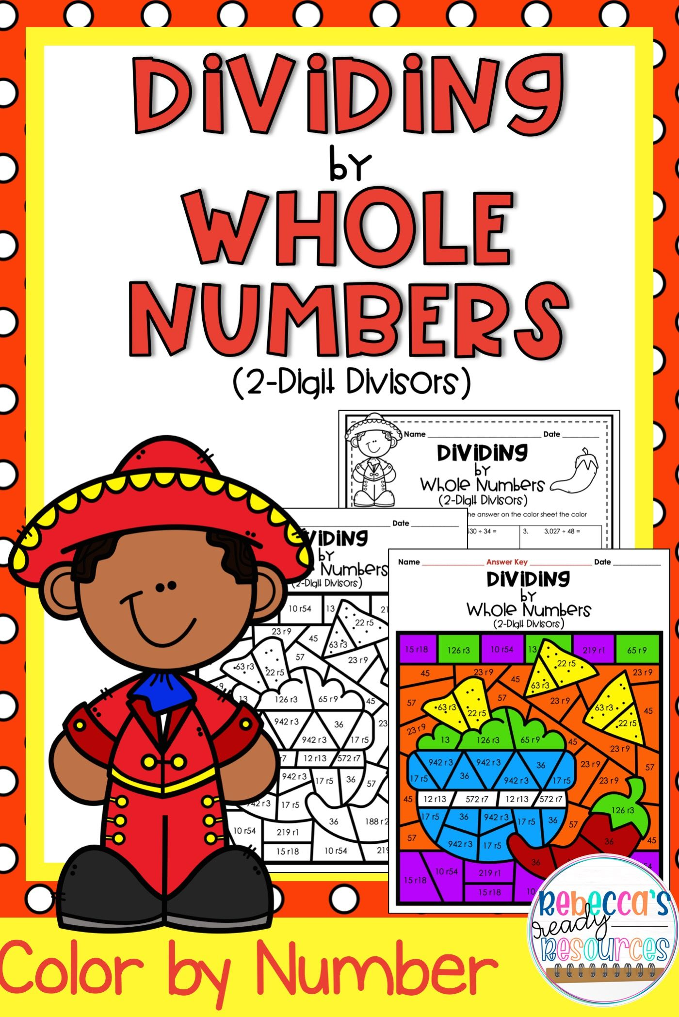 Dividing By Whole Numbers 2 Digit Divisors Color By