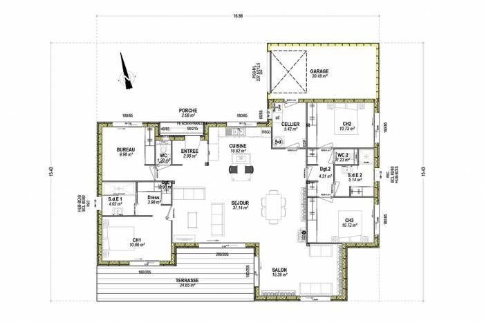 plan maison plain-pied suite parentale design optimisée arcadial - Construire Une Maison De 200m2
