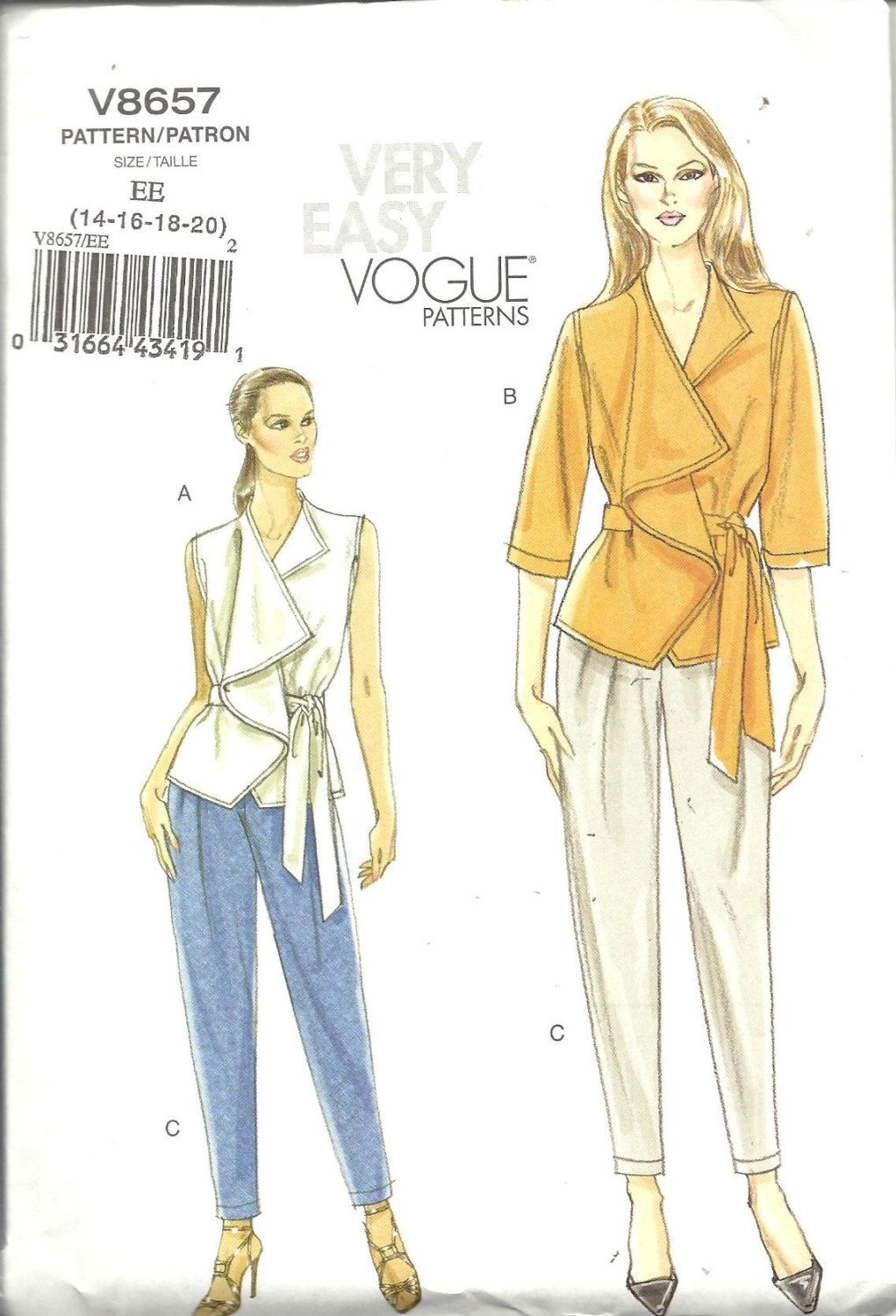 Vogue 8657 Wrap Top, Pants And Belt Sewing Pattern V8657 Size 14, 16 ...