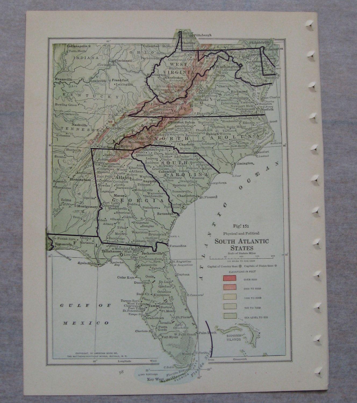 Florida Geography Map.Antique North Atlantic States Oldmaps Florida Virginia The