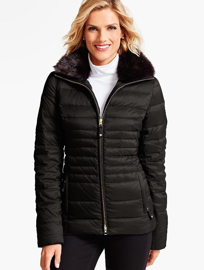 Short Faux Fur Collar Puffer Coat Talbots Clothes For Women Puffer Coat Faux Fur Collar [ 1057 x 800 Pixel ]