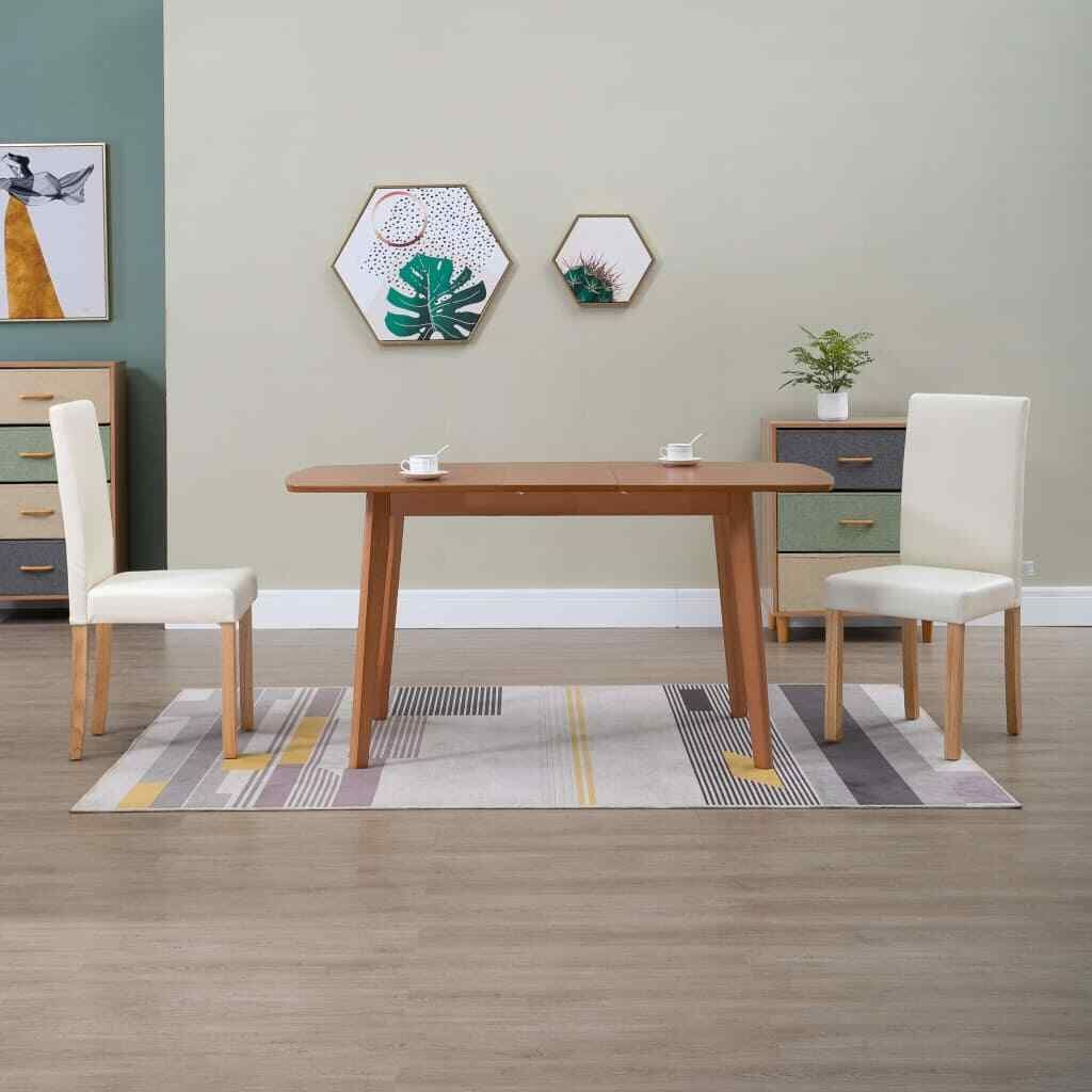 Vidaxl 2x Esszimmerstuhl Creme Kunstleder Polsterstuhl Kuchenstuhl Stuhl Stuhl Ideas Of Stuhl Solid Wood Dining Chairs Fabric Dining Chairs Dining Chairs