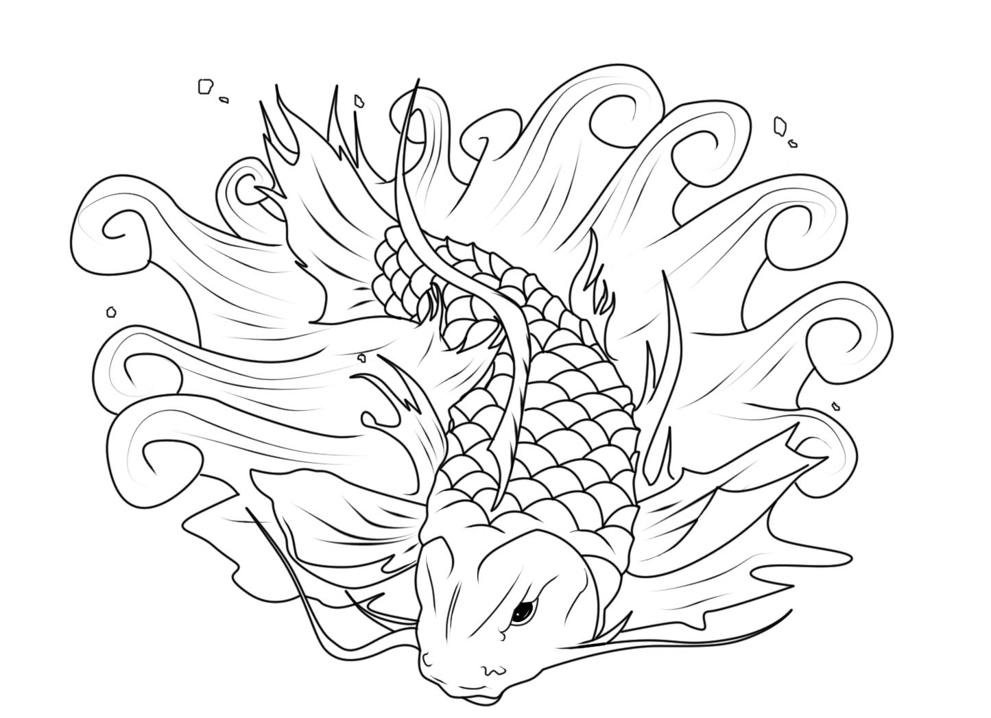 Koi fishing coloring page  Fish coloring page, Koi fish drawing