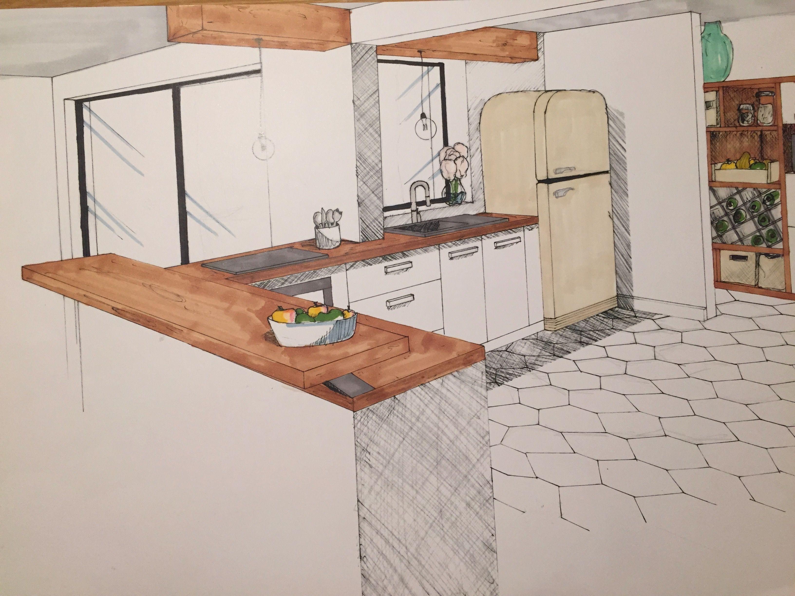 Projet De Fin D Annee Renovation Interieur Et Exterieur D Une Maison Bretonne Perspective Cuisine Renovation Interieur Architecture Interieure Maison