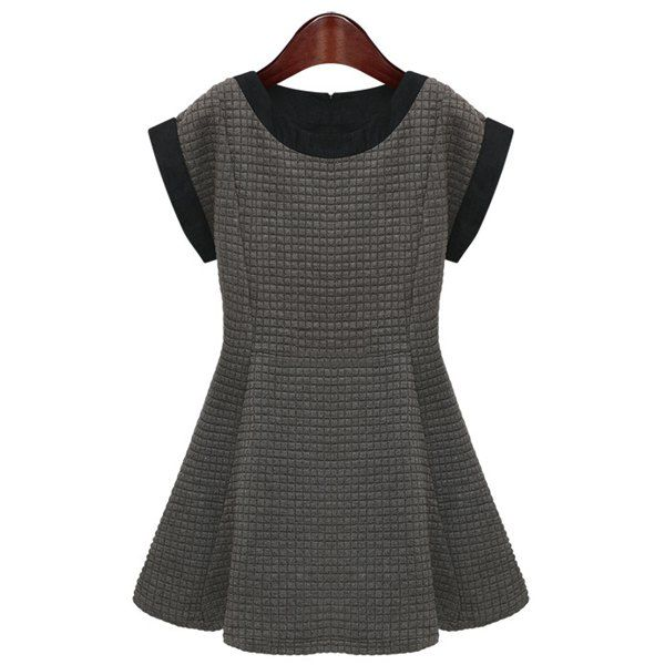 Women's Graceful Plaid Pattern Ruffles Color Matching Short Sleeves Dress, AS THE PICTURE, S in Dresses 2014 | DressLily.com