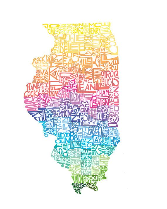 Illinois Typography Map Art Unframed Print Customizable State Etsy Map Art Map Art Print Art Prints
