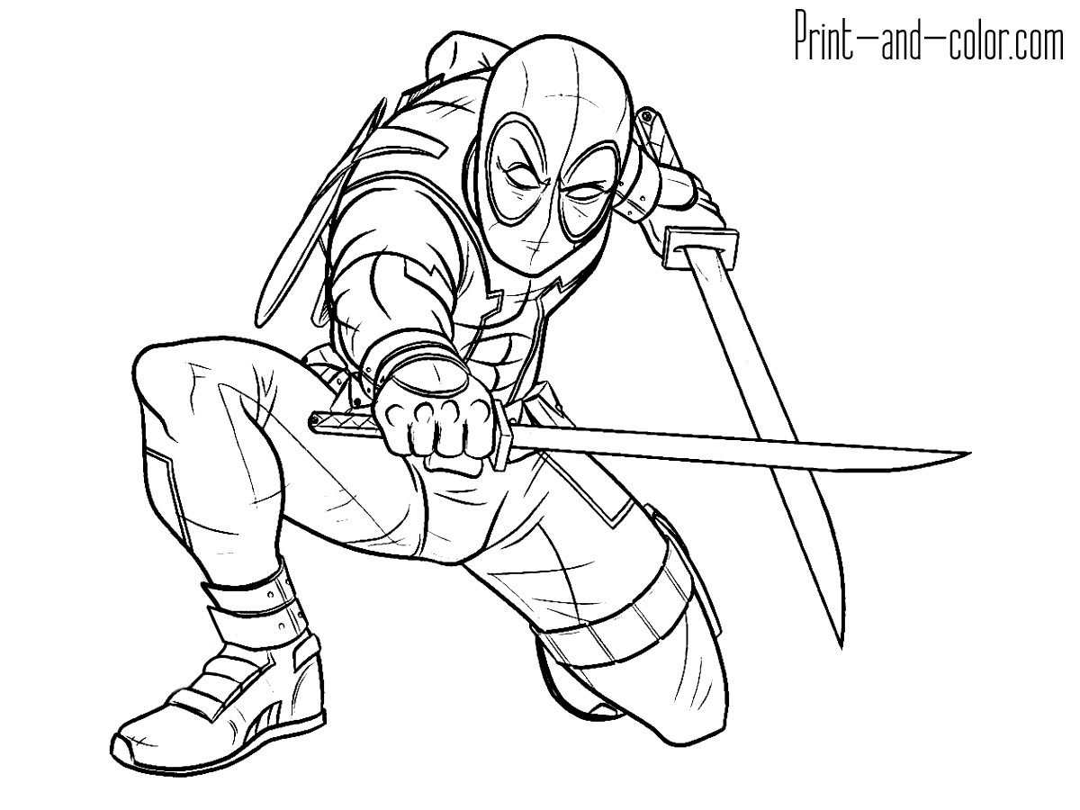 Deadpool Coloring Pages Deadpool Drawing Coloring Pages For Kids