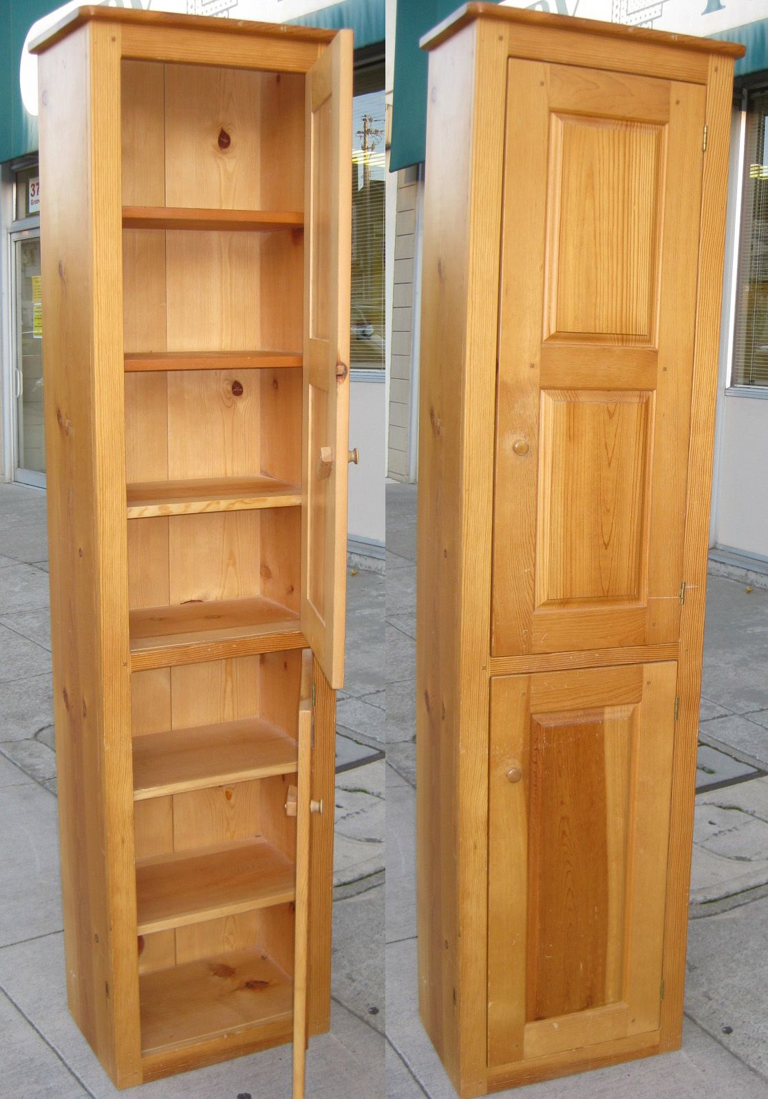 Tall Narrow Cabinet With Doors The Pictures Below Show The Cabinet With Doors Open And Closed Pantry Cabinet Cabinet Tall Kitchen Cabinets