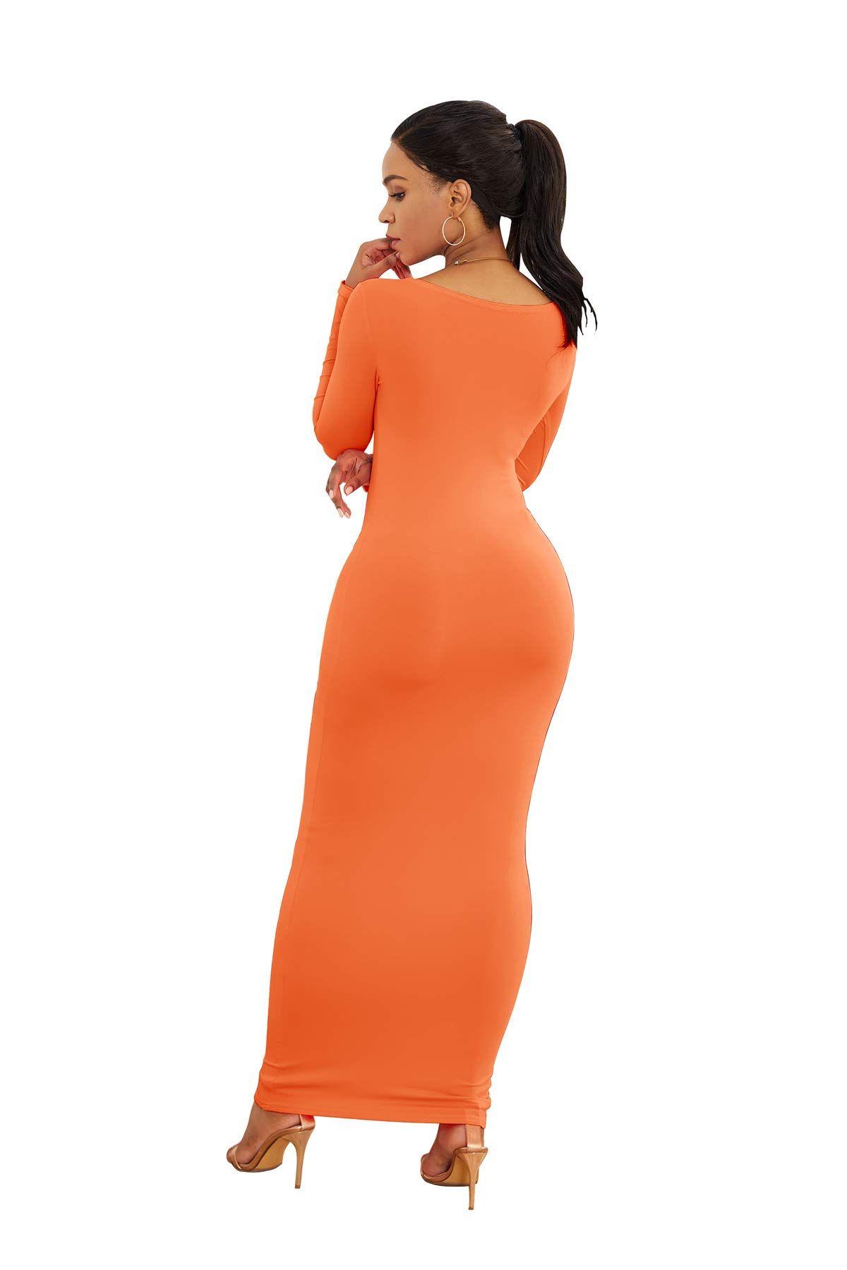 Womens Casual Sleeve Simple Bodycon Orange Long Sleeve Dress Casual Dresses For Women Racerback Maxi Dress [ 1800 x 1200 Pixel ]