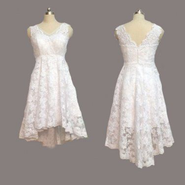 Vintage Ivory Lace Front Short Long Back Beach Wedding Dress V Neck High Low Gown Outside Bridal