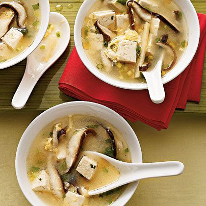Lucky Soup: The tofu, egg, and shiitake mushrooms in this recipe for lucky Chinese soup fill you up, but using fat-free, low-sodium broth keeps the calories low — about 100 calories per bowl.