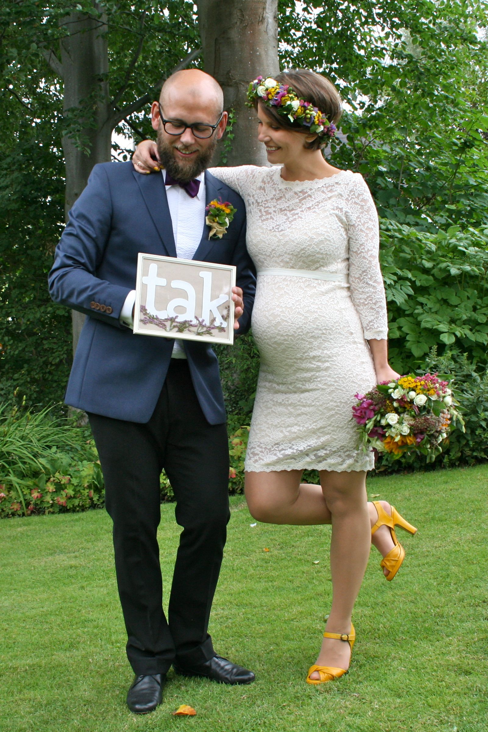 Garden Wedding Pregnant Bride Flowers In The Hair Yellow Shoes Dress From Rosemunde Maternity Short My Flower Crown