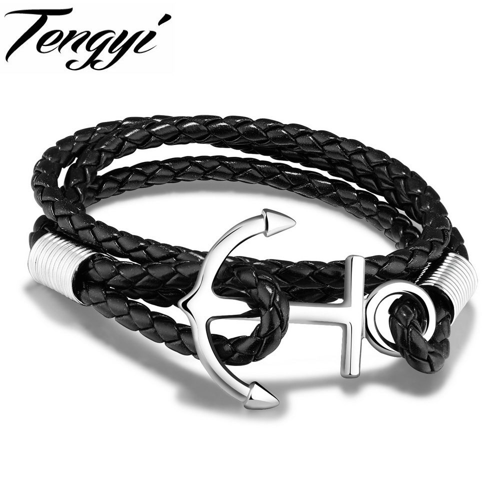Tengyi vintage weaved leather bracelets stainless steel anchor