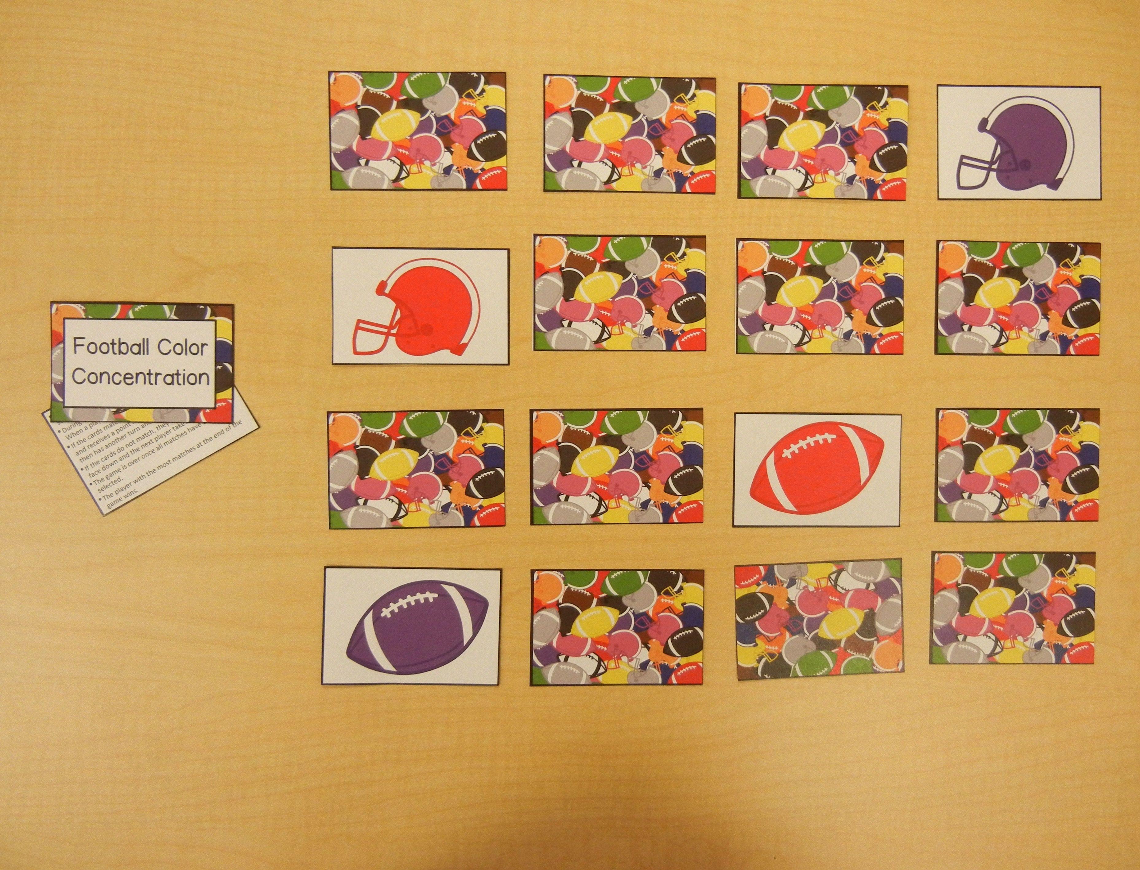 Colors bingo concentration color bingo cards game