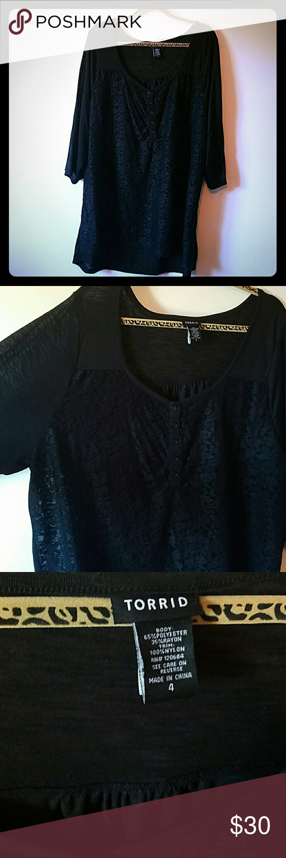 a946a9581b142 Torrid black lace shirt 3 4 sleeve