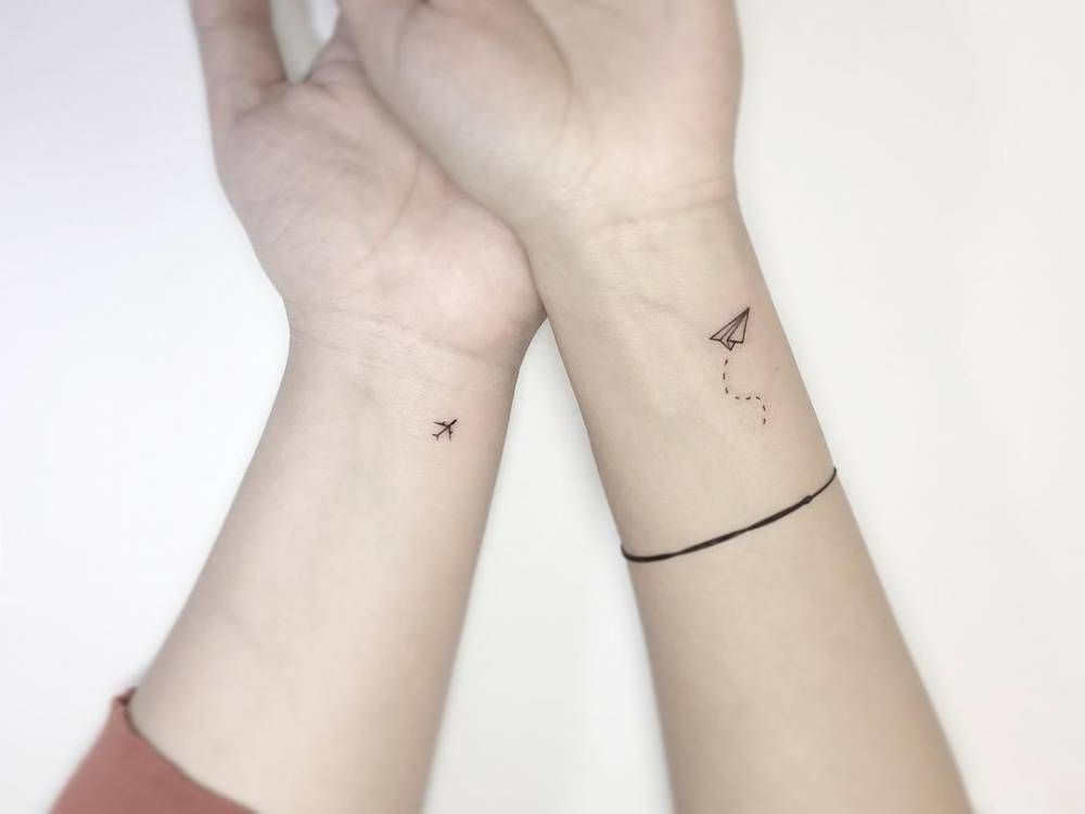Matching Inner Wrist Plane And Paper Plane Tattoos Paper Plane