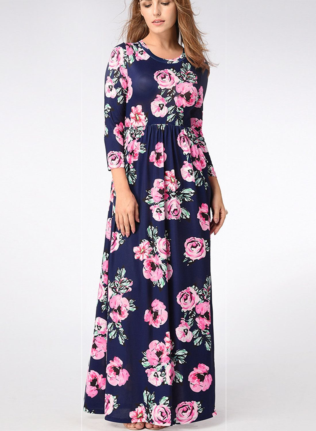 5bb004465cbf Bohemian Long Sleeve Floral Printed Maxi Prom Dress | Products ...