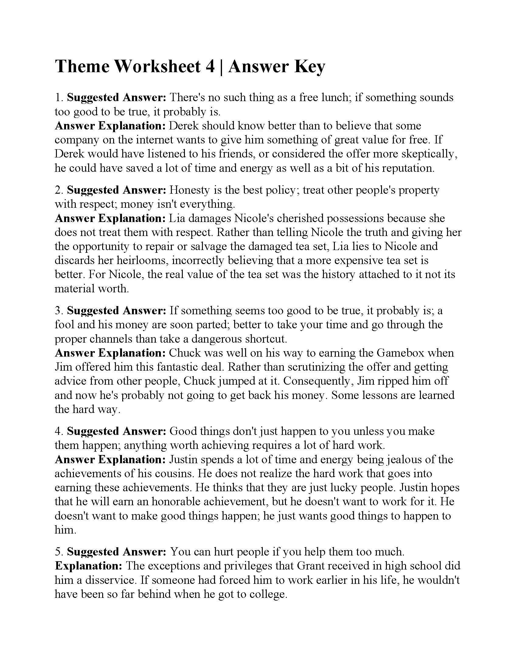 5th Grade Theme Worksheets Theme Worksheet 4 In 2020 Worksheets Main Idea Worksheet Worksheet Template