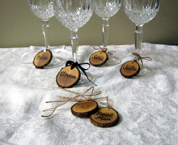 Personalized Wine Charms Fall Wedding Gl Rustic Place Cards Rehearsal Dinner Favors Bridal Party Custom Labels
