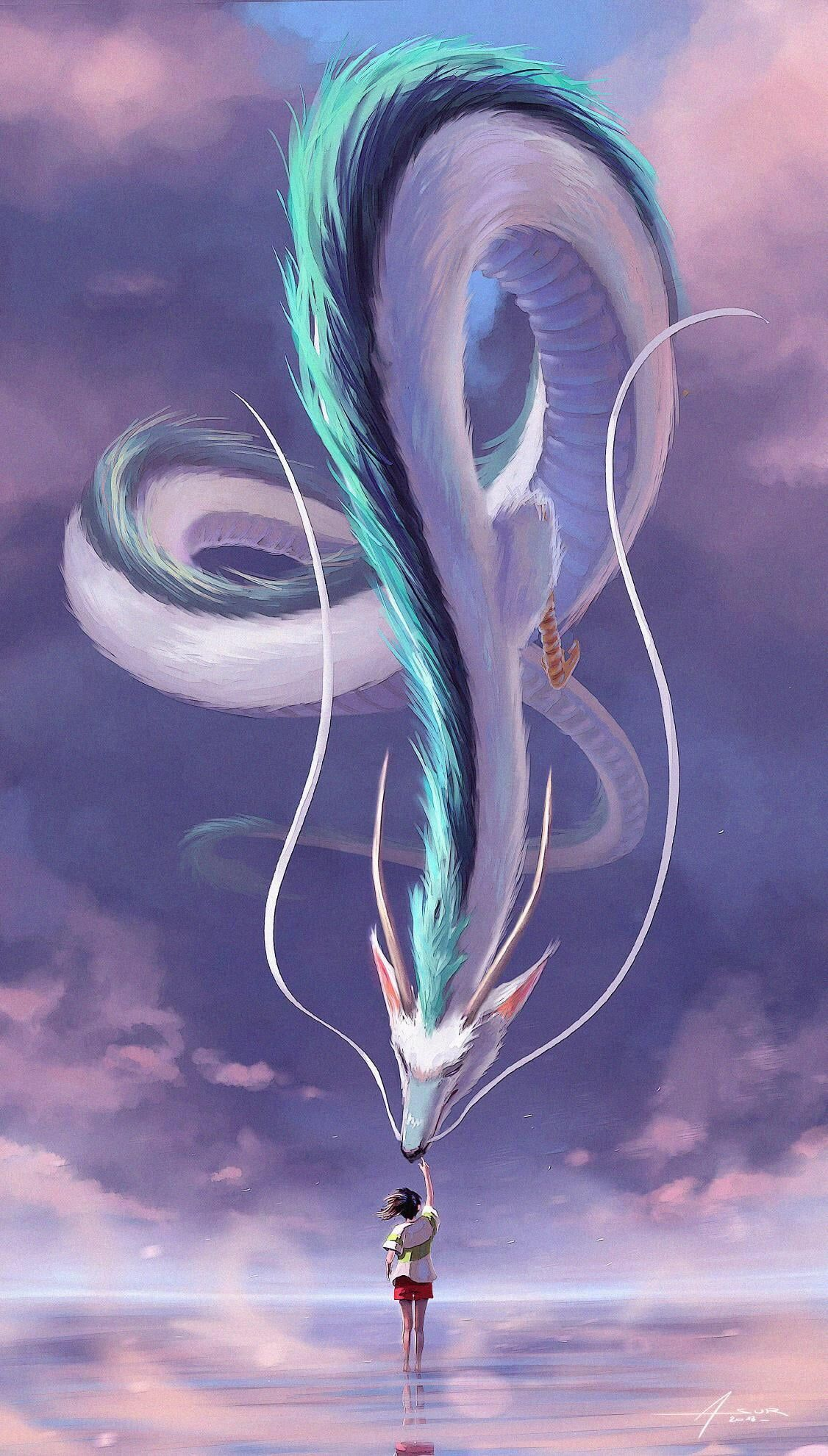 Dragon Children Illustration Digital Painting Clouds Haku Chihiro Spirited Away Anime Anime Girls Sky Creatur In 2020 Studio Ghibli Art Ghibli Art Fantasy Art