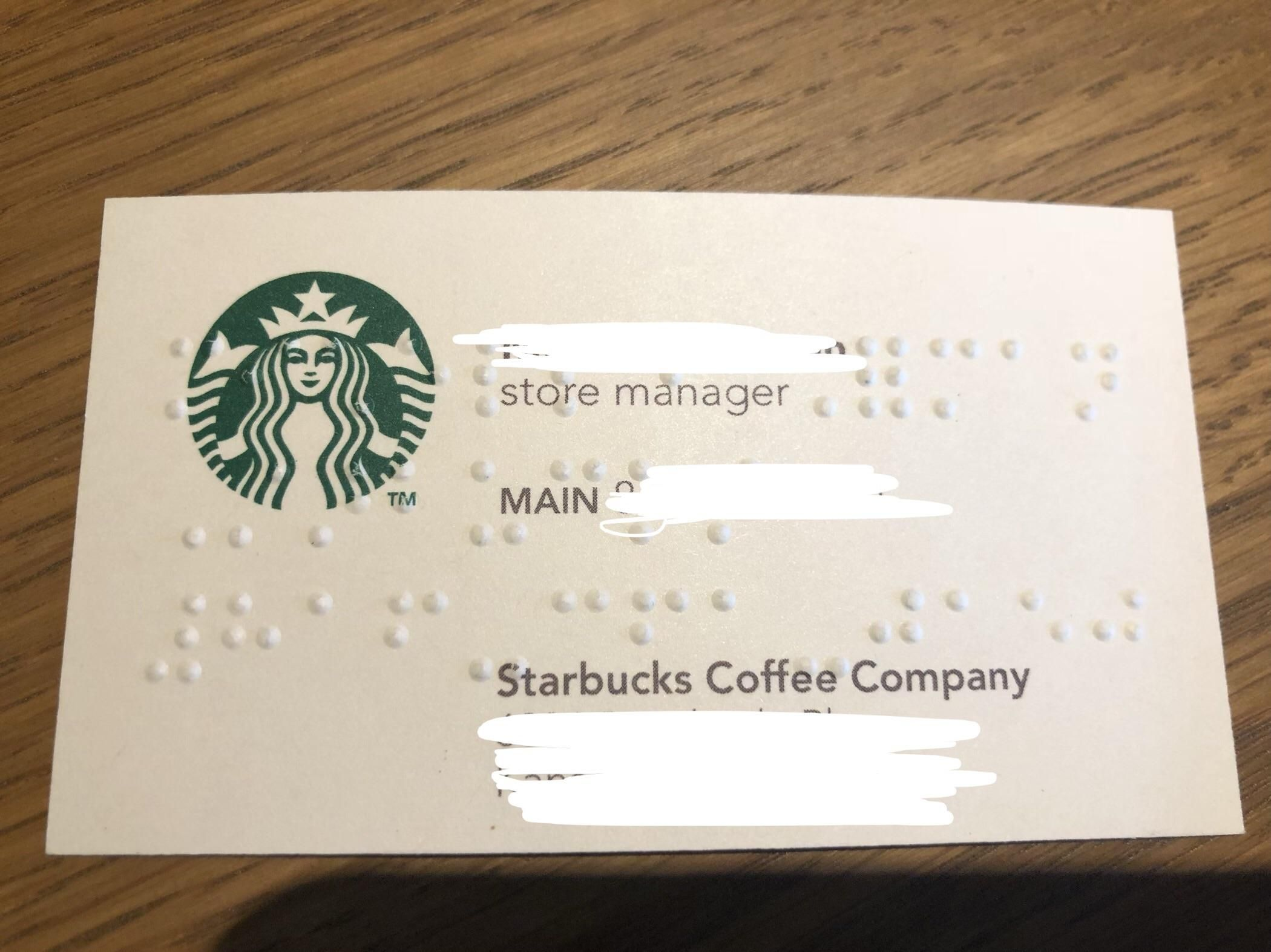 This Starbucks Business Card That Also Has Braille Imprinted Into It Coffee Company Cards Imprinting