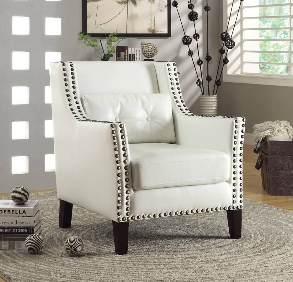 Traditional White Faux Leather Accent Chair W/Lumbar Pillow