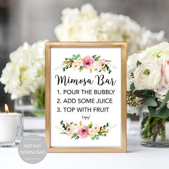 mimosa bar sign bridal shower mimosa bar sign baby shower