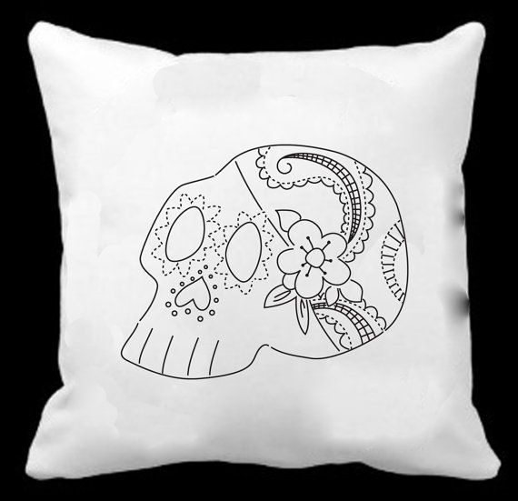 Hand Embroidery Design Sugar Skull Pattern By Embroiderymart
