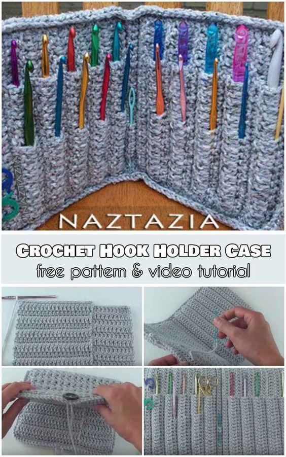 Crochet Hook Holder Case [Free Pattern and Video Tutorial] | Crochet ...