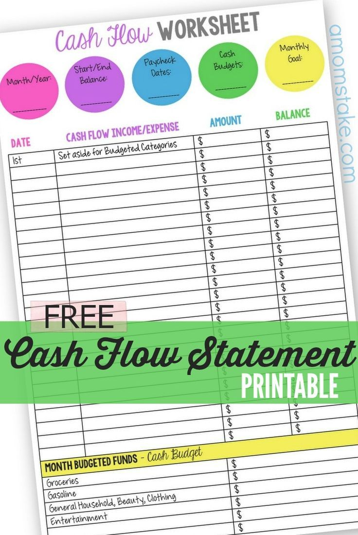 Use this printable personal cash flow statement to keep