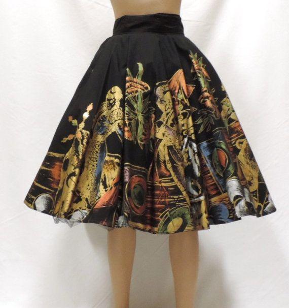 88a40240246bb 1950s Full Circle Skirt Mexican Hand Painted Size Small Black Gold Matador  Souvenir Rockabilly Vegas VLV