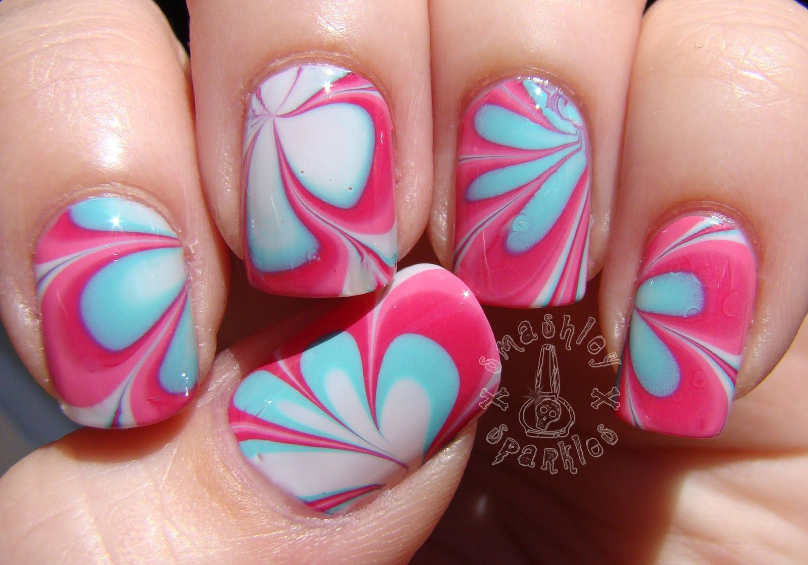 water marbled birthday nails - Google Search | Nails and makeup ...