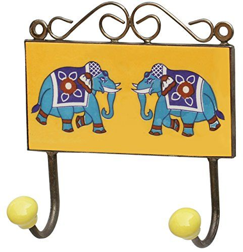 Wall-Mounted Double Hook - Hand-painted Elephant Hook for Indoor ...