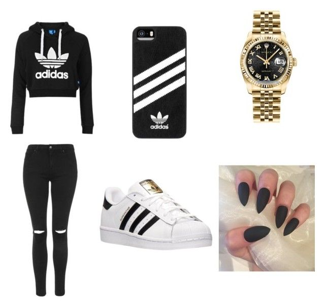 """Untitled #1"" by shaniyalewis ❤ liked on Polyvore featuring adidas, Topshop and Rolex"