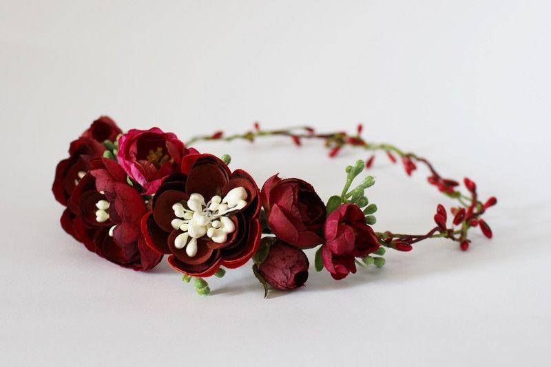 Kwiatowy Wianek Na Glowe Czerwone Kwiaty Kwiatysapiekne Kwiaty Do Wlosow Red Crown Crown Jewelry Wedding