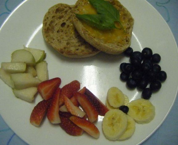 Canadian Whole Grain Muffin with Cheese and Fruits Breakfast
