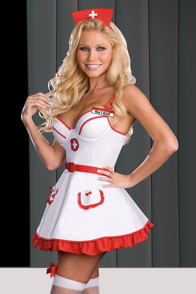 d955af4c4fd Sexy White One-piece Dress Nurse Costume Set