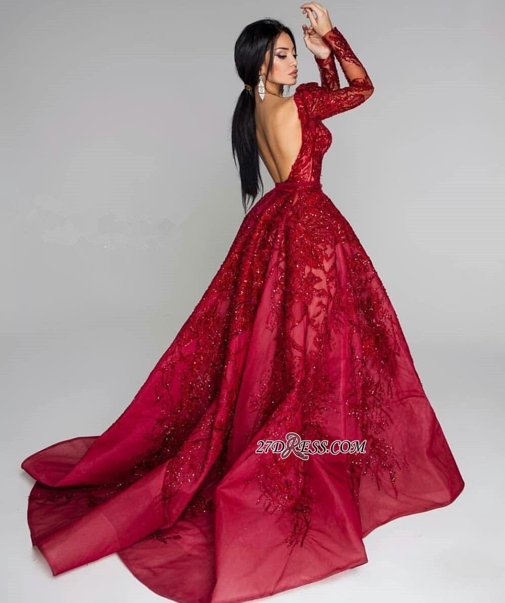 Glamorous Long Sleeve Lace Prom Dress  d8e9544f9c99