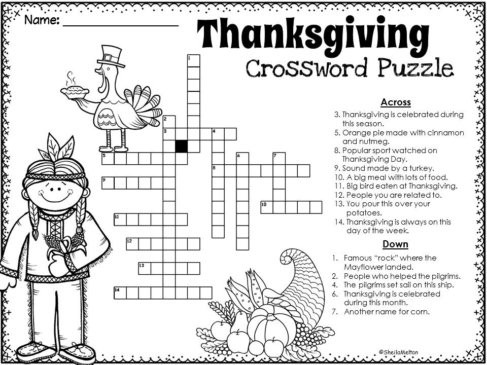 Best 25 Thanksgiving crossword puzzle ideas on Pinterest