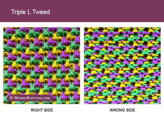 Mosaic Knitting - Three Color Knitting Stitch Pattern. Triple L ...